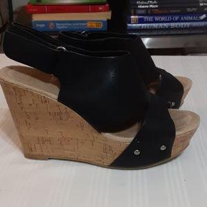 Chinese laundry black wedge heels 7.5